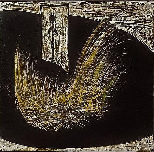 Afrika/1986/gekratzer Aspahltlack auf Keidegrund auf Leinwand/54x56cm | Klaus Fabricius | Artist Künstler | Information