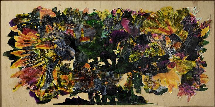 Baum-Blüten/2018/Collage Folien Untermalung auf Holz/67x132cm | Klaus Fabricius | Artist Künstler | Information