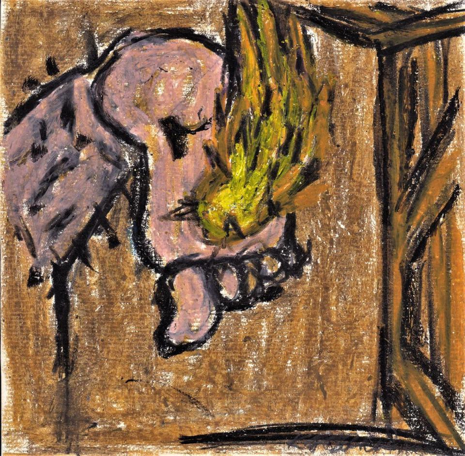 Brand Fuß (Selbstportrait)/1987/ Wachskreide auf Papier20x20cm | Klaus Fabricius | Artist Künstler | Information