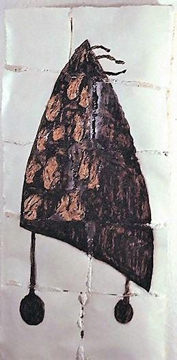 Brandmal Kathedrale/1995/Asphaltlack Acrylfarbe auf Papier auf PUschaum/75x45cm | Klaus Fabricius | Artist Künstler | Information