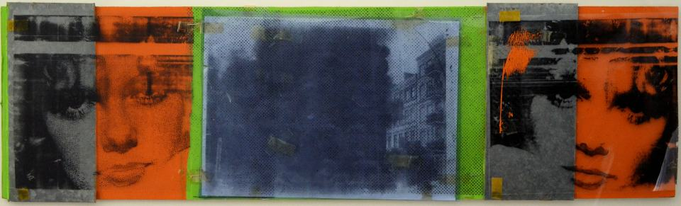 Cindy/1994/Fotokopie,Pc-Folie,Acrylfarbe,Aluminium,Tesa auf Sperrholz/23x89cm | Klaus Fabricius | Artist Künstler | Information