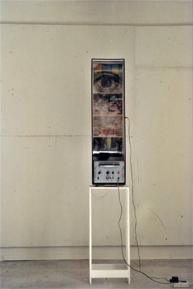 City Walk II/1997/Fotografie auf OH Folie collagiert elktr. Motor Antrieb Muuzak endlos Musikband | Klaus Fabricius | Artist Künstler | Information