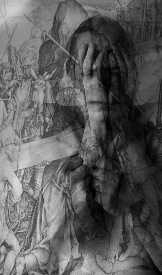 Denkonstrultion [morph überblendung mit Schongauer Motiv]/2021/Fotografie, digital Collage/80x40cm | Klaus Fabricius | Artist Künstler | Information