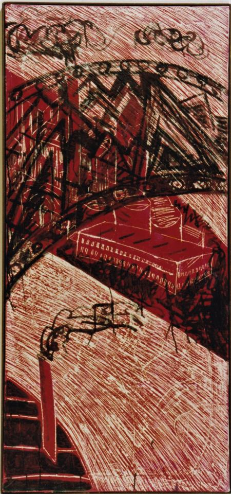 Die Brücke/1986Kreidegrund gekratzte Farbe  Tusche/ca. 120x40cm | Klaus Fabricius | Artist Künstler | Information