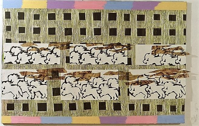 Die Große Parade/1999/Asphaltlack Acrylfarben Schablonendruck auf Leinwand/150x210cm | Klaus Fabricius | Artist Künstler | Information