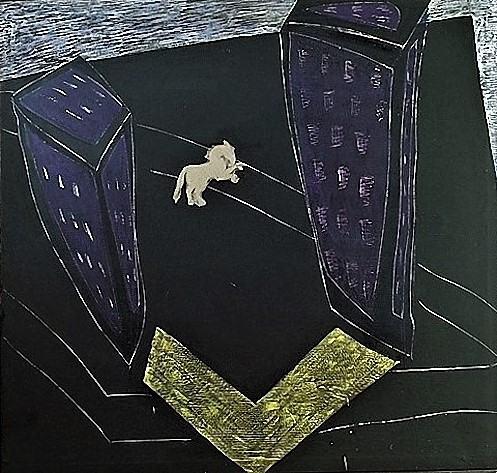 Die Nacht/1988/Asphaltlack Champagnerkriede Papier Wachs/160x155cm | Klaus Fabricius | Artist Künstler | Information