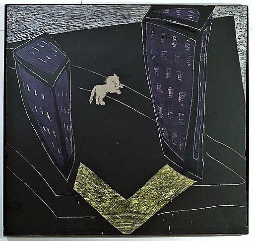 Die Nacht/1988/Champagnerkreise Tafelfarbe Wachs Papier auf Leinwand [Smlg. LBS Stuttgart/Günther Wirth] | Klaus Fabricius | Artist Künstler | Information