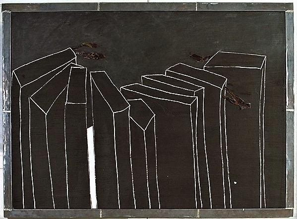 Die Nacht II/ um 1990/Tafelfarbe Champangnerkreide Papier auf Leinwand/Walzblei gerahmt/140x180cm | Klaus Fabricius | Artist Künstler | Information