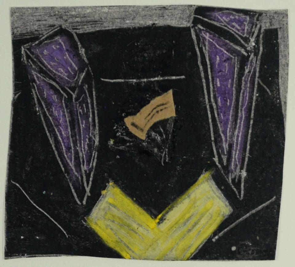 Die Nacht/Studie [zum Bild 150x140cm/Smlg. LBS]/1988/Wachs  Bleistift Papierfetzen/12x12cm | Klaus Fabricius | Artist Künstler | Information