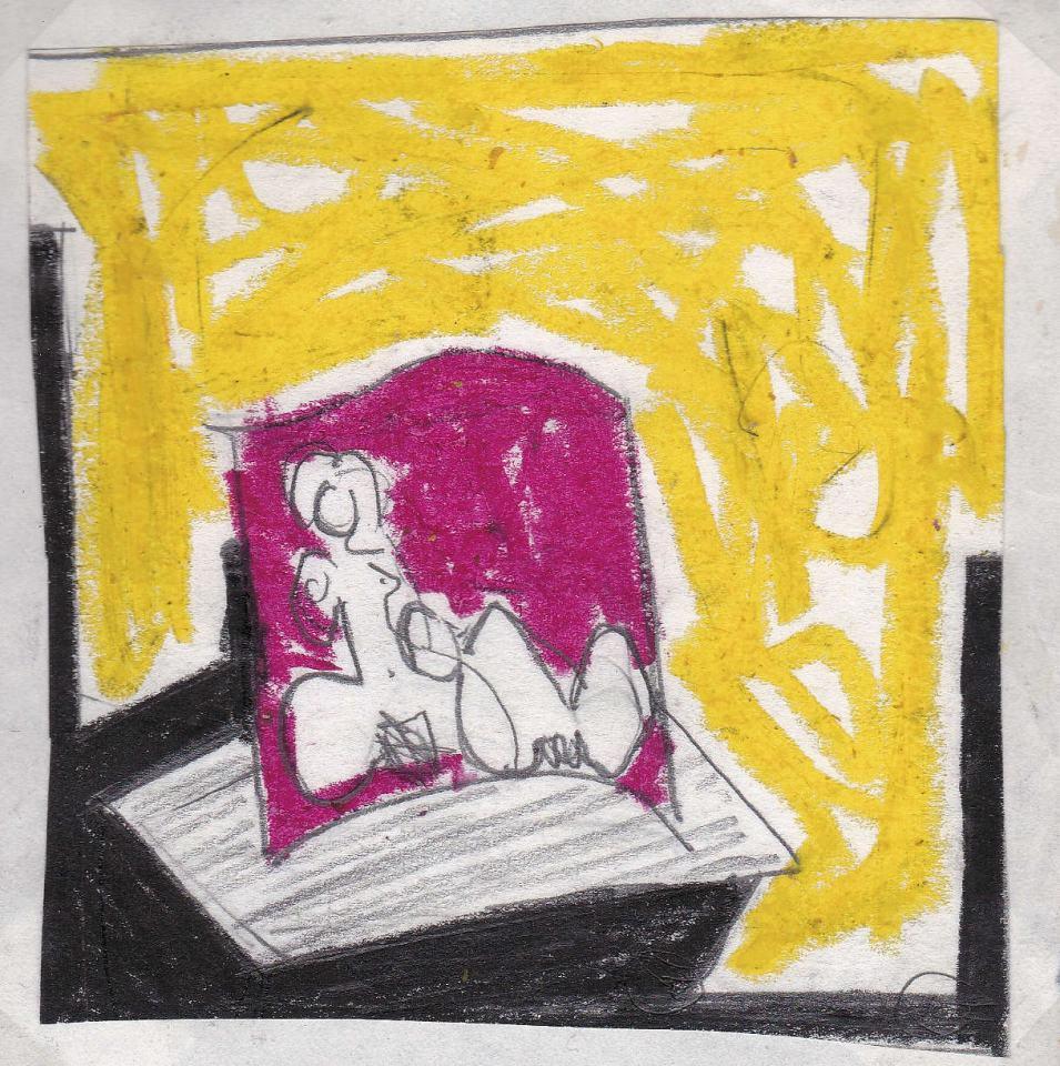 Figuren Studie [2]/1988/Wachs Bleistift/12x12cm | Klaus Fabricius | Artist Künstler | Information