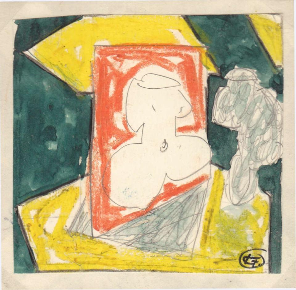 Figuren Studie [3] /1988/Wachs Bleistift/12x12cm | Klaus Fabricius | Artist Künstler | Information