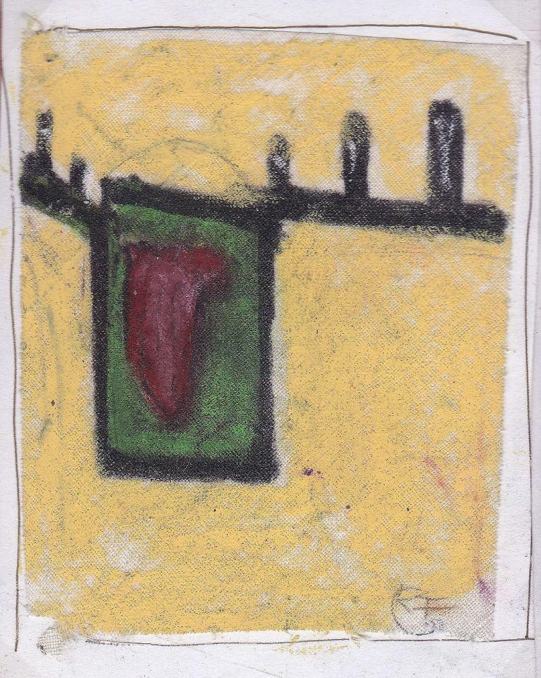 Figuren Studie [5]/1988/Wachs Bleistift/12x12cm | Klaus Fabricius | Artist Künstler | Information