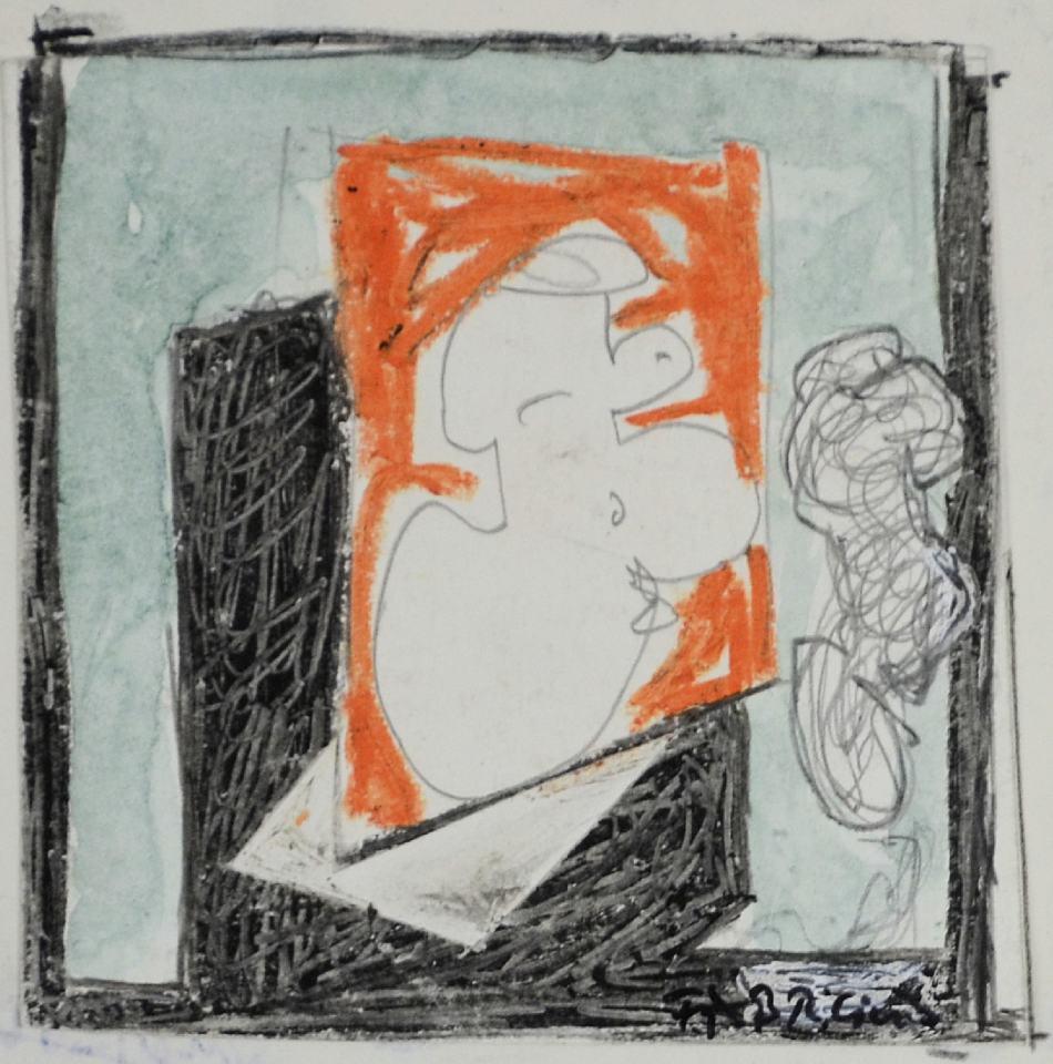 Figuren Studie I [zum Bild 150x140cm] /1988/Wachs Bleistift/12x12cm | Klaus Fabricius | Artist Künstler | Information