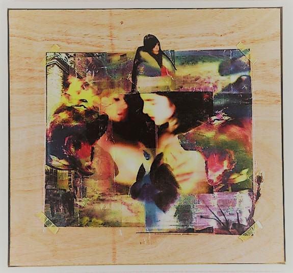 In Mitten von Allem Zärtlichkeit/2016/Collage/ OHFolien auf Holz/ 80x80cm | Klaus Fabricius | Artist Künstler | Information