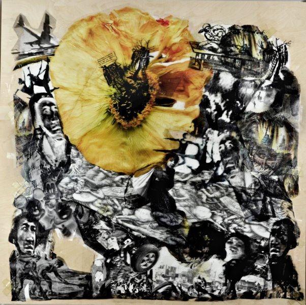 In Verlust der Gegenwart II/2018/Collage auf Holz/80x80cm | Klaus Fabricius | Artist Künstler | Information