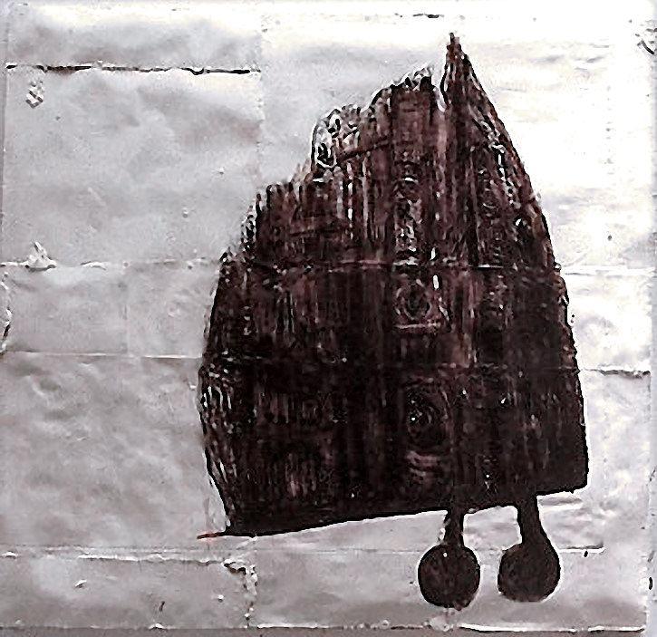 Kathedrale I/1996/Asphaltlack Karton auf PUschaum auf Leinwand/160x0154cm | Klaus Fabricius | Artist Künstler | Information