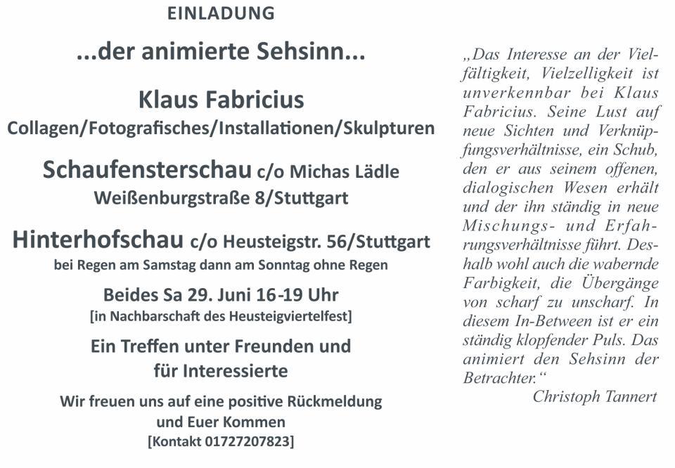 Klaus Fabricius   Artist Künstler   Information