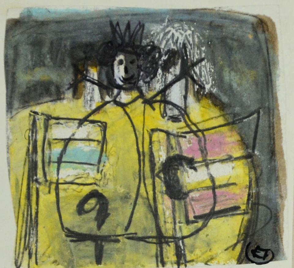 König Studie/1988/Wachs Bleistift/12x12cm | Klaus Fabricius | Artist Künstler | Information