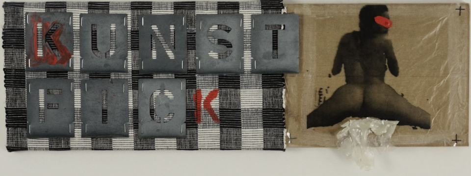 Kunstfick/1997/Blechschablonen,Tuch,Fotokopie, Acrylschmand | Klaus Fabricius | Artist Künstler | Information