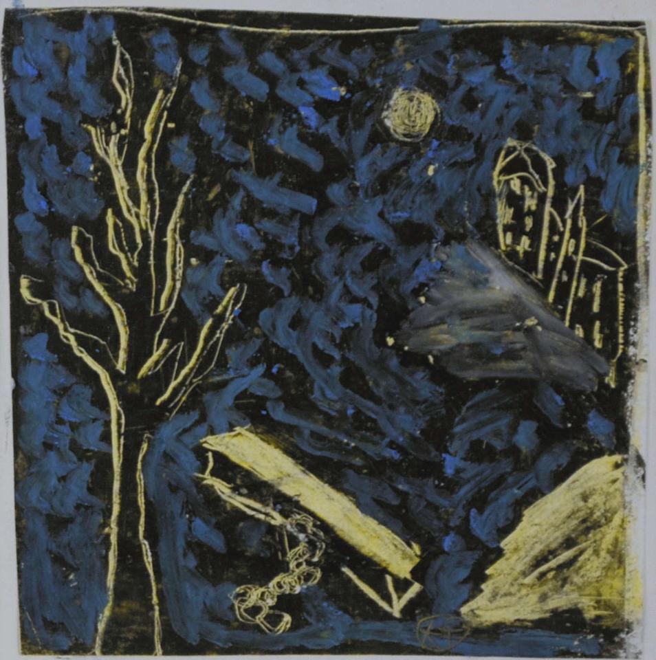 Landschaft Studi/198/Wachs auf Papier/11x11cm | Klaus Fabricius | Artist Künstler | Information