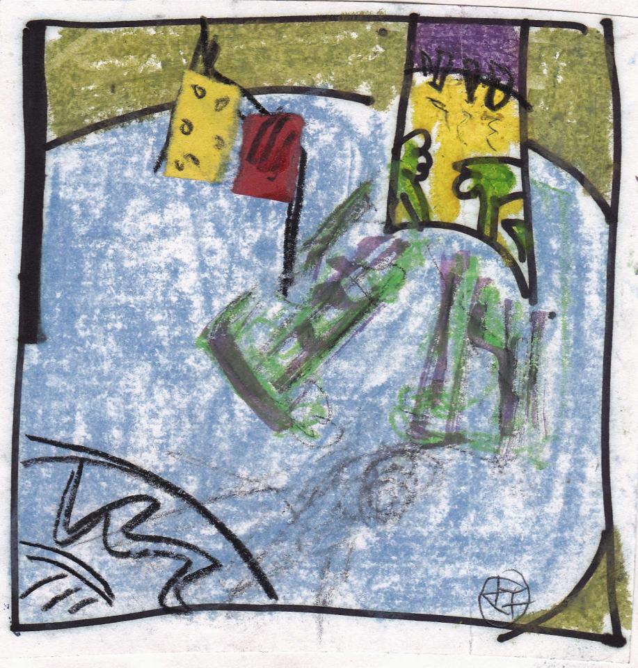 Landschaft Studie [11]/1988/Wachs Bleistift/12x12cm | Klaus Fabricius | Artist Künstler | Information