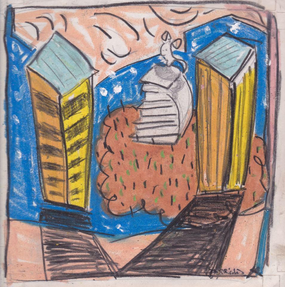Landschaft Studie [12]/1988/Pastell/12x12cm | Klaus Fabricius | Artist Künstler | Information