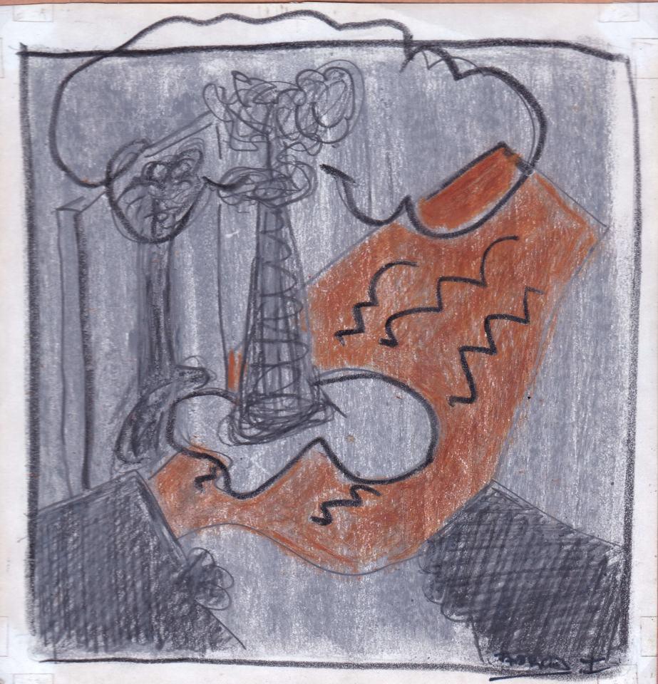 Landschaft Studie [14]/1988/Patell, Bleistift/12x12cm | Klaus Fabricius | Artist Künstler | Information