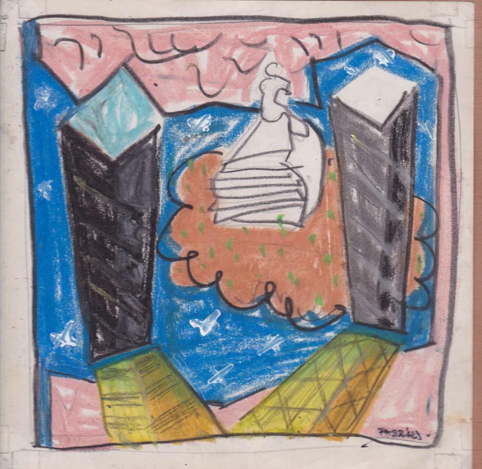Landschaft Studie [1o]/1988/Pastell,Bleistift/12x12cm | Klaus Fabricius | Artist Künstler | Information