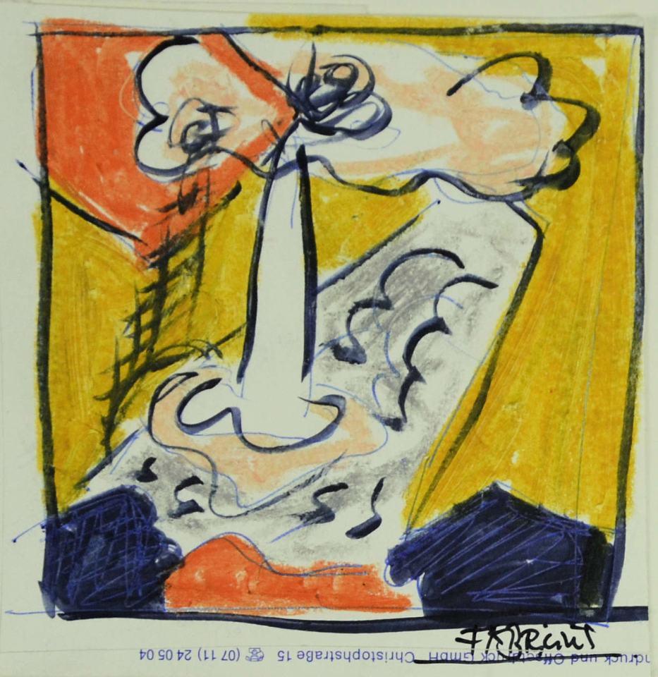 Landschaft Studie  [zum Bild 140x150cm/priv. Besitz] /1988/Wachs Tusche Bleistift/12x12cm | Klaus Fabricius | Artist Künstler | Information