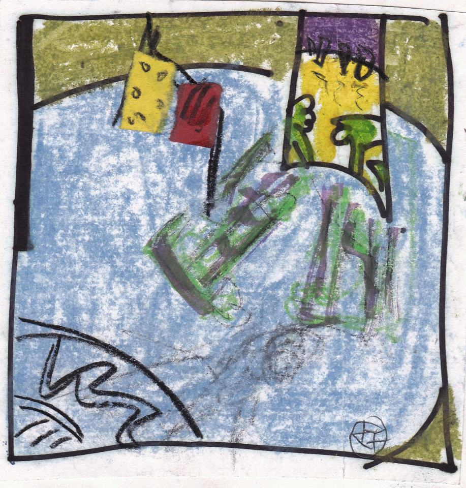 Landschafts-Studie/1988/Pastellkreiden Farbpapier/8x8cm | Klaus Fabricius | Artist Künstler | Information