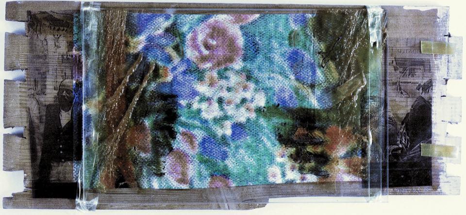 Leben/1998/Fotokopien,Geschenkpapier,Glas Pattex,Tesa auf Holz/34x22cm | Klaus Fabricius | Artist Künstler | Information