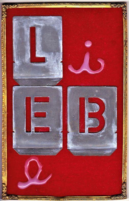 Liebe/1996/Blechschablonen,Heißkleber,Samt,Messingrahmen/22,5x14x5cm | Klaus Fabricius | Artist Künstler | Information