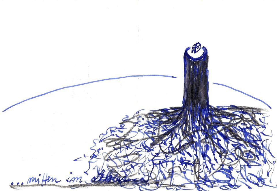mitten im Leben/2015/Zeichnung/Bleistift Tinte/15x24cm | Klaus Fabricius | Artist Künstler | Information