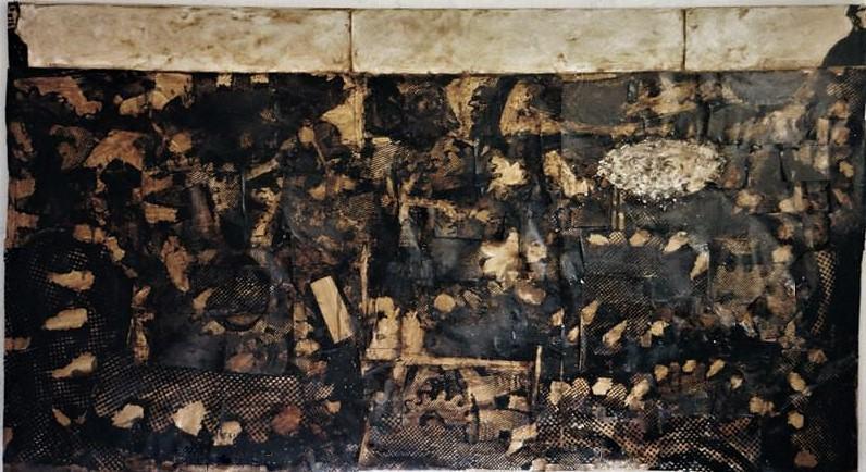 Platz der Arbeit/1994/ Fotokopien Asphaltlack Papier auf PUSchgaum auf Leinwand/130x210cm | Klaus Fabricius | Artist Künstler | Information