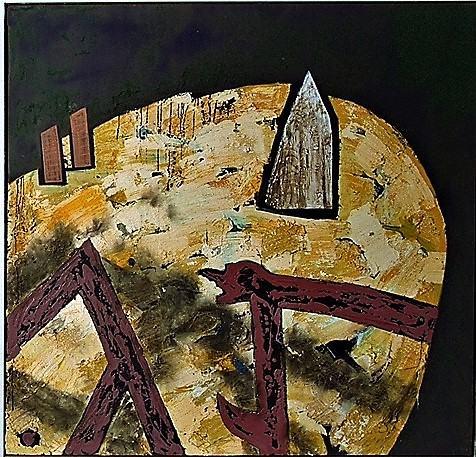 Platz der Kathedralen/1988/igmentierte Champagnerkreide Pastelkreiden Wachs Fusseln Ruß/147x150cm | Klaus Fabricius | Artist Künstler | Information