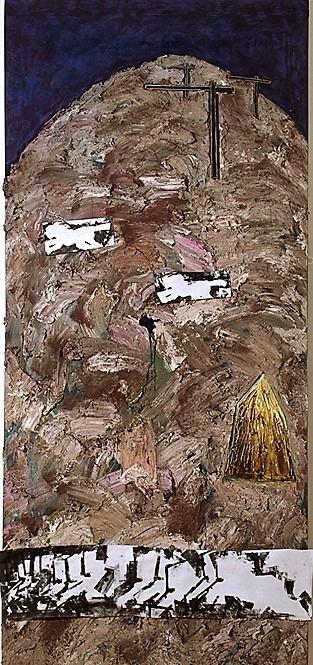 Platz der Kathedralen II/1988/pigemtierte Champangerkreide Pastell Asphaltlack bedruckter Karton auf Leinwand 240x120cm | Klaus Fabricius | Artist Künstler | Information