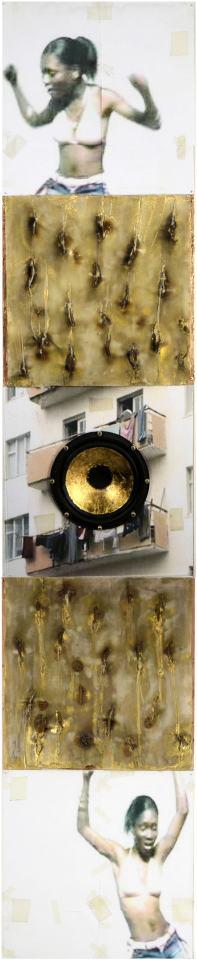 Portrait City/2008/ Fotodrucke collagiert, Pexiglas, Wachs, Lautsprecher/200x40x8 | Klaus Fabricius | Artist Künstler | Information