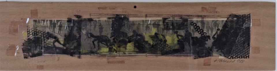 Revolte/1988/Collage/Fotokopie Papier Folien auf Holz/12x47cm | Klaus Fabricius | Artist Künstler | Information