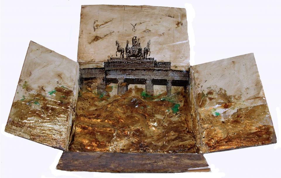 Rheingold/1999/Fotokopie Wachs Schlagmetall/1000x90x10cm | Klaus Fabricius | Artist Künstler | Information