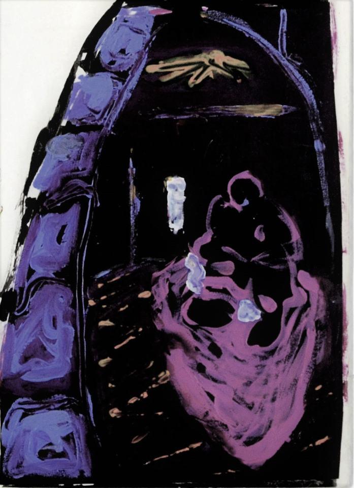 Selbstportait sitzend/1986/Acryl auf schwarzem Karton/20x15cm | Klaus Fabricius | Artist Künstler | Information