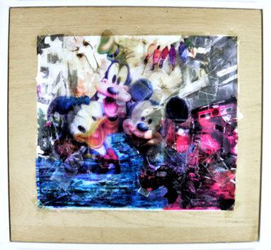Stätte militanter Melancholie/2016/Collage/ OHFolien auf Holz/ 80x80cm | Klaus Fabricius | Artist Künstler | Information