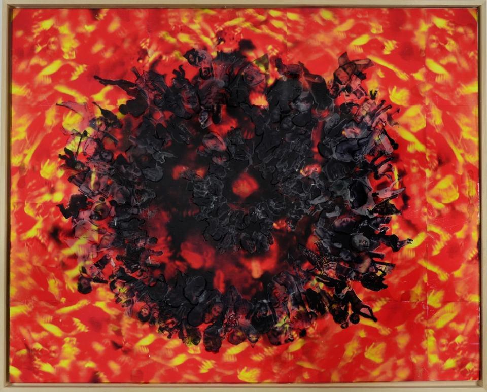 Starless Desaster/2020/OHP Collage auf Holz/ 80x100cm | Klaus Fabricius | Artist Künstler | Information