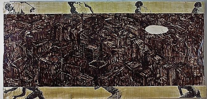 Vedute/1993/Asphaltlack Fotokopien Wachs auf Papier auf PUschaum auf Leinwand/147x305cm | Klaus Fabricius | Artist Künstler | Information