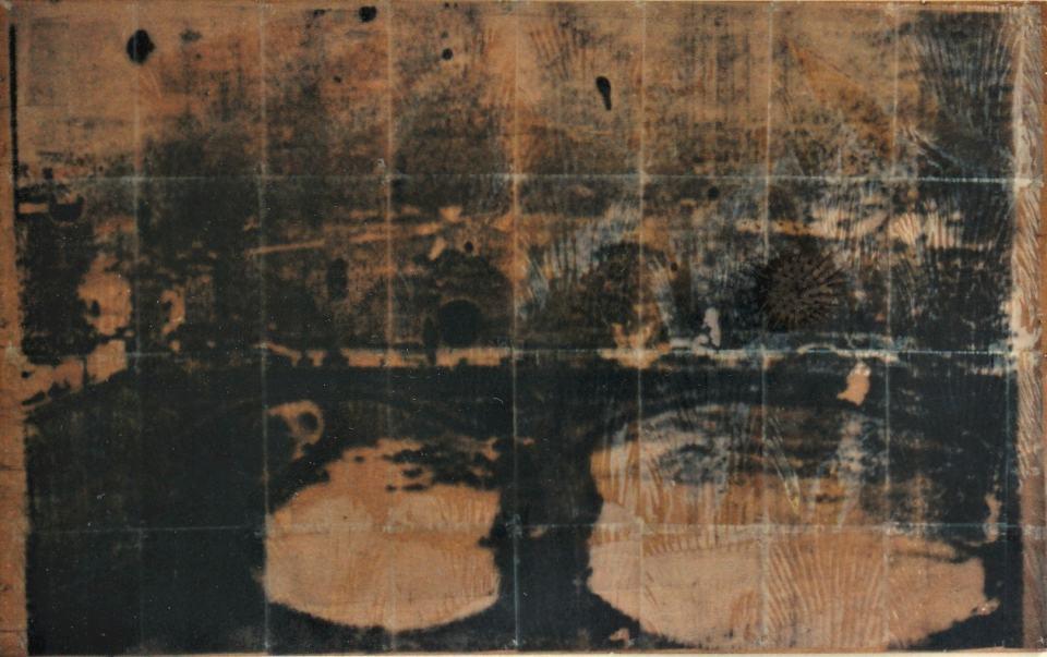 Vedute/1997/Captutre Fotografie/  Folienkopien Flachskamm auf Holz/120x150 cm | Klaus Fabricius | Artist Künstler | Information